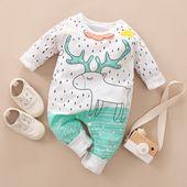 Baby Boy / Girl Neugeborene Baumwolle Cute Reindeer Print Langarm Jumpsuit   – Products