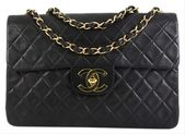 Chanel Classic Flap Vintage Classic Single Quilted Maxi Black Lambskin Leather Shoulder Bag