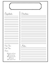 free full page recipe template