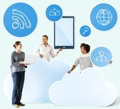 Download premium image of Happy people with cloud and technology icons