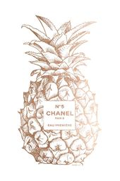 Fashion Pineapple Champ Gold Canvas Artwork by Amanda Greenwood | iCanvas – Chanel wall art