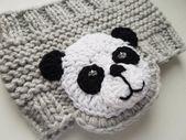 Panda headband knitted headband, ear warmer, head wrap, girls headband, earmuffs, kids suit, girls suit, winter accessories, gray headband