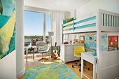 Kinderzimmer licht hochbett schreibtisch hellblau grün – KIds rooms / pokoje dziecięce