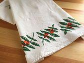 Zweig und Beeren weicher Baumwolle Mehl Sack Handtuch – Hand gedruckt Orangenbaum Geschirrtuch – Block gedruckt B   – Products