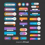 Colorida colección de botones de diseño web con diseño plano Vector | Descargar libre   – UI design/animation
