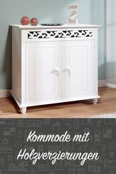 Legend dresser white »Jersey« Country style with 2 doors – Sideboard cabinet Antique Chests of drawers Ho …