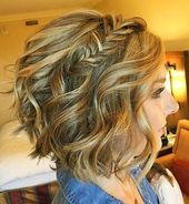 Wavy-Bob-with-Braid Beautiful hairstyles for short hair #Shorthairbob - #braid #hochsteckfrisuren #burzes #schone
