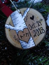 Wedding gift , wedding ornament , gift for him , Wood slice ornament , couples gift , personalized gift , anniversary gift , birch wood gift