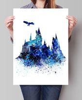 Hogwarts Castle Kunst, Wandkunst Harry Potter, Hogwarts Poster, Filmplakat, Wasser