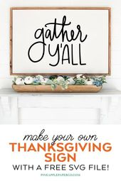 Free Gather Y'all Thanksgiving SVG File