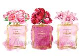 Fleur de parfum aquarelle, pivoine, orchidée, rose, or, aquarelle, décor de salle de bain, chambre décor mode illustration ombre composent cadeau