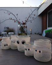 Halloween Deko einfach selber basteln: Schnelle Mumienlichter
