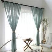 Minimalismus Gardine Blau Unifarbe im Wohnzimmer
