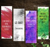 Sarcastic Watercolor Bookmark Set, 4 Printable Snarky Bookmarks, Go Away, I'm Reading, My Book Smells Better than Your Tablet, Reader gift