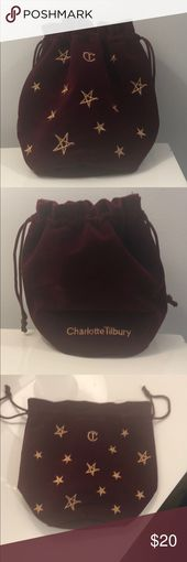 Charlotte Tilbury Make-up Bag Pink velvet Charlotte Tilbury make-up bag with gold s…