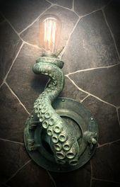 Nautische Messing Patina Tentakel Bullauge Lampe v…