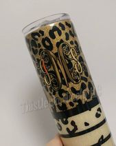 Gold and Cream Leopard Tumbler | Leopard Print Glitter Tumbler | – Products