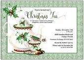 Holiday Tea Invitation | Christmas Tea Invitation | Tea Party Invitation | Holly leaves | Tea Pot | Tea Cup | Dessert