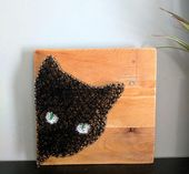 Black Cat Decor, Halloween String Art