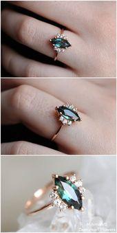 Anillo de compromiso de zafiro azul verde rosa con diamante de 18 quilates   – Schmuck