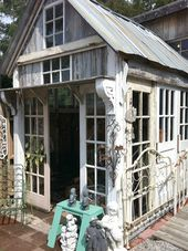 Garden Shed made out of salvaged pieces. (SuzAnna's Antiques Raleigh, NC)   – **Garten, Balkon und so**