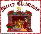 Photo of Frohe Weihnachten Christmas Girl Kamin Bild