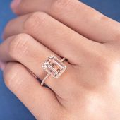 Rose Gold Morganite Engagement Ring 7x9mm Emerald Cut Morganite Unique Wedding Anniversary Gift Women Minimalist Halo Diamond Bridal Ring   – ring