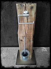 Klopapierhalter – WC Garnitur WC Set Bürste Halter Upcycling Klo – ein Designer