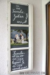 Door sign, upcycling, DIY, old wooden window, family, picture, chalk, blackboard, door   – Deko