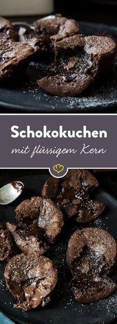 Pastel de chocolate con núcleo líquido: 5 recetas en la prueba, 1 ganador claro   – Essen und trinken