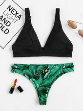 Palm Print High Leg Bikini, L