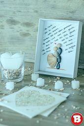 DIY Bilderrahmen zur Hochzeit mit Brautpaar aus Steinen – #aus #Bilderrahmen #Br…