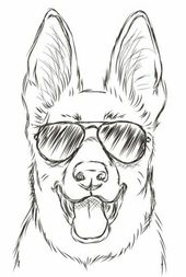 Hund mit Sonnenbrille, einfache Zeichnung Tutorials, schwarz und weiß, Bleistiftskizze, weiß
