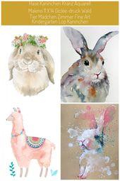 Hase Kaninchen Kranz Aquarellzeichnung 11 x 14 von SusanWindsor #kaninchen aquarell Hase Kaninchen Kranz Aquarell Malerei 11 x 14 Giclée-Druck Wald T…