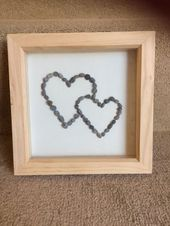 Double heart pebble picture. Perfect for loved ones/ engagement gift/ wedding gi…