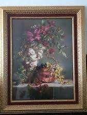 vintage home interiors 34 x 28 vase and fruit picture signed d