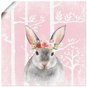 Art Print Poster »UtArt: Rabbit with Flowers in the Forest Illustration«