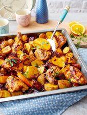Pollo a la naranja del plato con chorizo   – Glutenfrei – gluten free