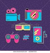 Set Technology Vector 90s Style Stock Vector (Royalty Free) 1016667253