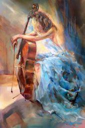 """Limited Edition Print """"Blue Note II"""" by Anna Razumovskaya Eine zauberhafte musische Darstellung"""