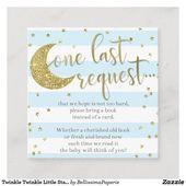 Baby Showers Twinkle Twinkle Twinkle Little Star Blue Book Insert Card
