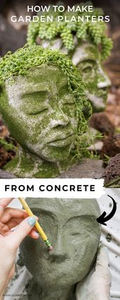 DIY Concrete Head Planters