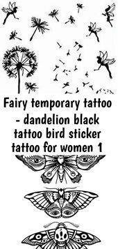 Fee temporäre Tätowierung – Löwenzahn schwarz Tattoo Vogel Sticker Tattoo für Frauen 1