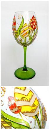 Ostern handbemalt Weinglas personalisierte Blumen Geschenk Muttertag Geschenk Fantasy Blume Tulpe Frühling Hochzeit Pflanze Mutter Geschenk   – Easter