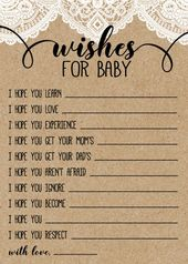 Burlap and Lace Rustic Baby Shower Game, Wishes for Baby Kraft Paper Game, Printable Digital File