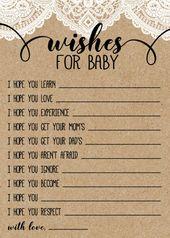 Sackleinen und Lace rustikale Baby-Dusche-Spiel, Wünsche für Baby-Kraftpapier-Spiel, druckbare digitale Datei