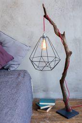 Treibholz-Stehlampe, Edison-Birne, Stehlampe, Holzlampe, Akzentlampe, Metallschirm, Loft-Lampe, moderne Stehlampe. Wohnzimmerlampe   – DIY Wohnen