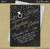 New Years Engagement Party Invitation Modern Vintage Rustic Chalkboard Confetti …   – Boda siso