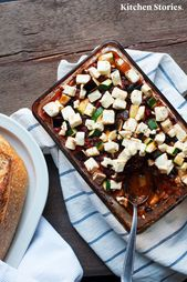 Ratatouille with feta out of the oven