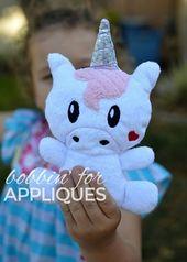 Kawaii Unicorn Stuffie In The Hoop Design